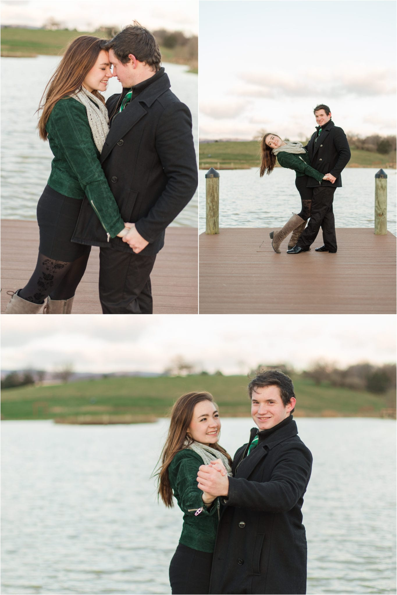 Engagement session on dock at Lake at Cedar Hill